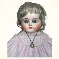 German papier mache doll, 21 inches, with beautiful face