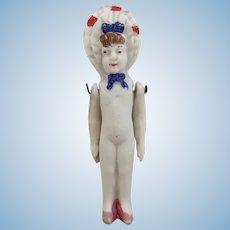 Antique miniature bonnet head all bisque doll