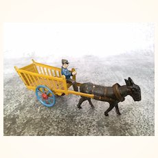 Antique German Penny Toy Donkey and Cart