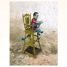 German Folding High Chair Tin Penny Toy, Rare