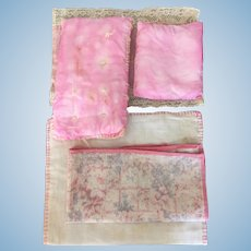 Vintage group of bed linens for dolls