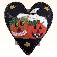 Vintage 1990's halloween decor felt applique ornament