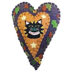 Vintage 1990's appliqué felt Halloween ornament