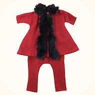 Vintage wool and fur trimmed outfit for slim composition doll