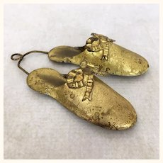 Victorian Brass Slippers Wall Hanging Match Holder