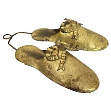 Victorian Brass Slippers Wall Hanging Match Holder