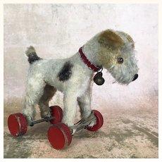 Vintage Steiff Foxy Fox Terrier on Wheels