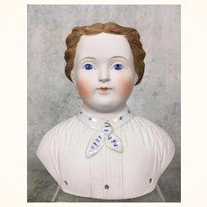 RARE cafe au lait hair decorated parian doll shoulderhead