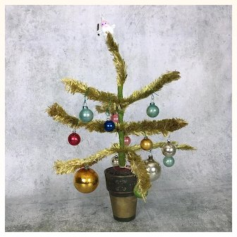 Vintage Visca Christmas doll sized tree in painted pot