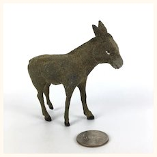 Vintage miniature German flocked donkey