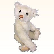 Vintage 1990 Steiff White mohair teddy bear with voice box