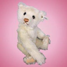Vintage 1990 Steiff White mohair teddy bear with voice box