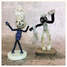 Pair of vintage wood and chenille toys- chef and waiter