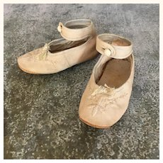 Antique canvas and leather shoes