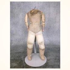 Antique cloth and leather body for bisque head doll