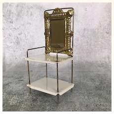 Early vintage two tier dollhouse table with mirror