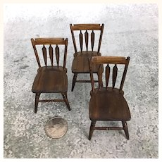 Vintage artisan made swordback chairs for dollhouse