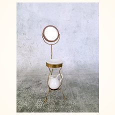 Artist made brass dollhouse shaving stand with mirror