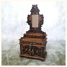 Early vintage doll sized dressing table with mirror