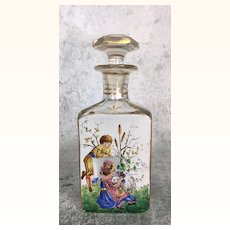 19th Century Glass Decanter with delightful image of children