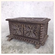 Antique miniature carved walnut French or German trunk for dolls