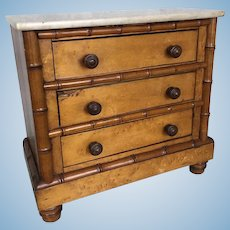 French maple marble top chest for dolls