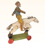 Vintage painted wood bucking bronco pull toy