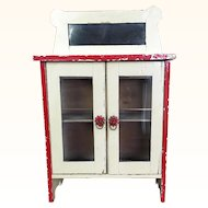 Vintage wonderful shabby miniature cabinet with glass doors and mirror