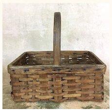 Early rectangular splint basket with handle