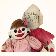 Handmade cloth folk art dolls