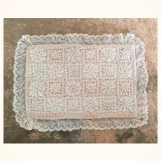 Vintage embroidered miniature bed cover