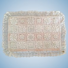 Vintage embroidered miniature bed cover for small bed