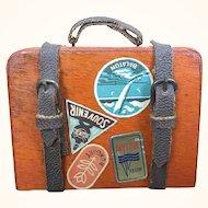 Miniature vintage wooden dollhouse suitcase