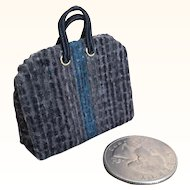 Vintage artist made miniature dollhouse carpet bag