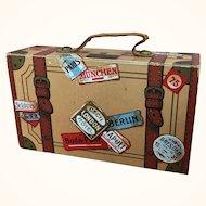 Vintage lithographed paper dollhouse suitcase