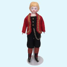 Antique blonde pink tinted bisque china boy doll