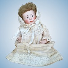 Antique Gebruder Heubach painted eye bisque head baby