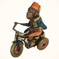 "Vintage Arnold Lithographed Tin Toy Wind up Monkey ""Bobby"" 1940's"