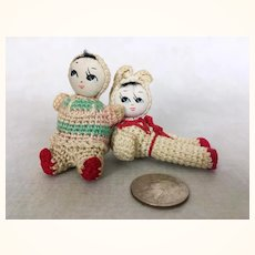 Two vintage miniature amigurimi Japanese dolls