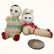 Two vintage miniature amigurimi Japanese dolls