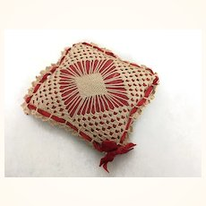Old small crocheted covered pillow for doll