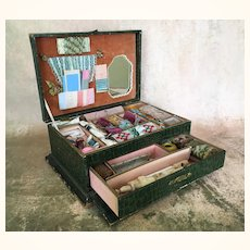 Antique Sewing Box with drawers full of embroidery, tools and ribbon