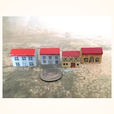 Vintage tiny dollhouse toy wooden houses