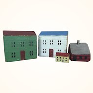 Folk art miniature painted wood houses