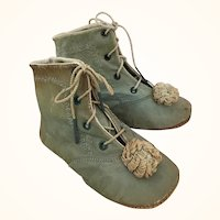 Antique pale green leather boots with pom poms for larger doll