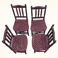 Set of four vintage wood spindleback dollhouse side chairs