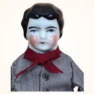 Old China Head Dollhouse Young man in Grey Suit and Bow Tie