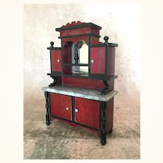 Early vintage Wood and Marble Top Miniature Dollhouse Cabinet