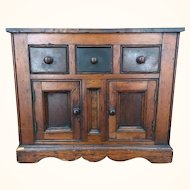 Antique small handmade wooden folk art cabinet with burlwood top and inset