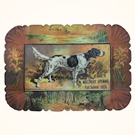 Antique calling card tray lithographed tin with advertising